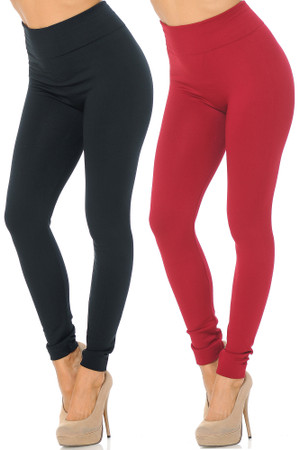 Women's Fleece Lined Leggings - Black Burgundy - 2 Pack