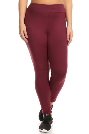 Burgundy front image of X7L105 - High Waisted Fleece Lined Sport Plus Size Leggings