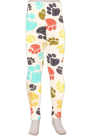 Brushed White Rainbow Paw Print Kids Leggings