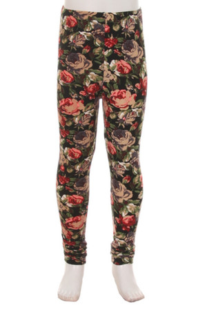 Brushed Vintage Floral Kids Leggings
