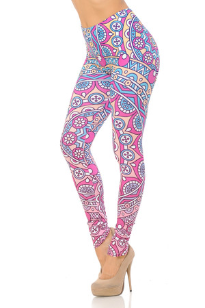 Double Brushed Pinky Blue Mandala Leggings