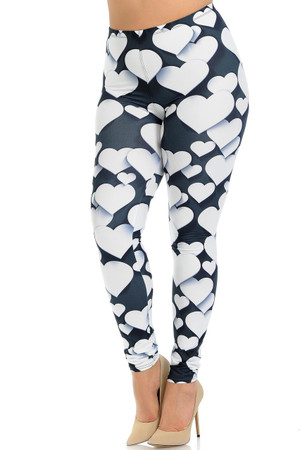 Creamy Soft 3D Hearts Extra Plus Size Leggings - 3X-5X