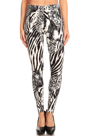 Brushed Wild Safari Extra Plus Size Leggings - 3X-5X