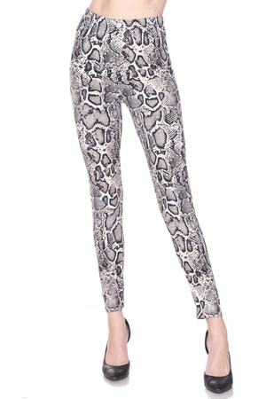 Brushed Beige Boa Snakeskin Extra Plus Size Leggings - 3X-5X
