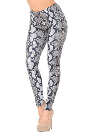 Double Brushed Light Grey Python Snakeskin Leggings
