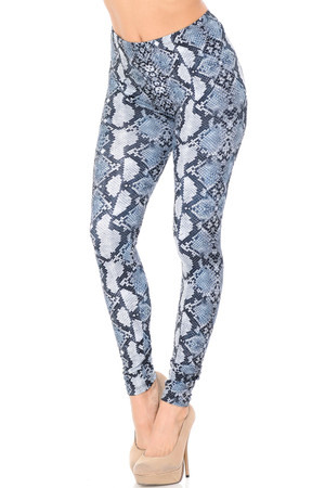 Double Brushed Aquamarine Python Snakeskin Leggings