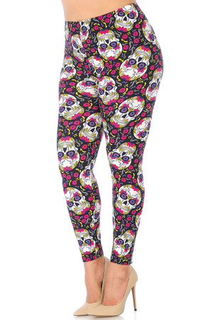 Brushed Floral Petal Sugar Skull Extra Plus Size Leggings - 3X-5X