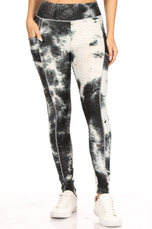 Premium Sport Black Tie Dye Scrunch Butt Workout Leggings with Side Pockets