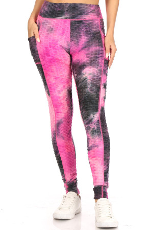 Premium Sport Fuchsia Tie Dye Scrunch Butt Workout Leggings with Side Pockets