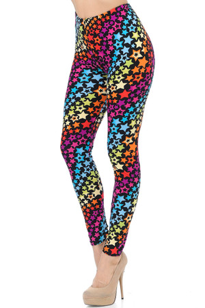 Brushed Flowing Rainbow USA Stars Leggings