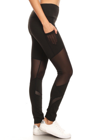 Premium Sport  Half Mesh Workout Leggings with Rear Pocket