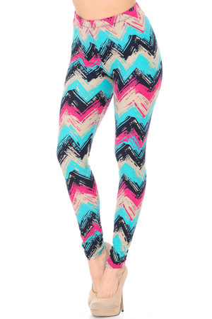 Brushed Electric Blue Chevron Leggings