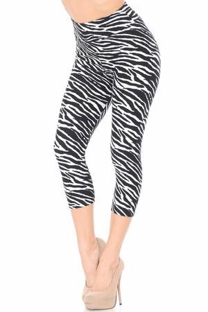 New Womens Ladies Animal Zebra Print Full Length Side Panel Leggings Size S M L