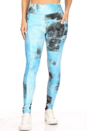 Premium Sport Blue Tie Dye Scrunch Butt Workout Leggings with Side Pockets