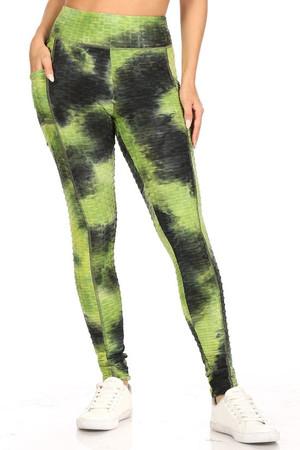 Premium Sport Green Tie Dye Scrunch Butt Workout Leggings with Side Pockets