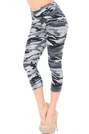 Brushed  Charcoal Camouflage High Waist Capris - 3 Inch