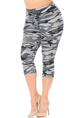 Brushed  Charcoal Camouflage High Waist Plus Size  Capris - 3 Inch