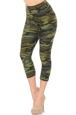 Brushed  Green Camouflage High Waist Capris - 3 Inch