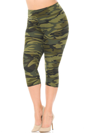 Brushed  Green Camouflage High Waist Plus Size Capris - 3 Inch