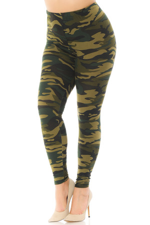 Brushed  Green Camouflage Extra Plus Size Leggings - 3X-5X