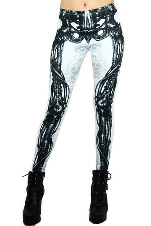 White Mechanical Skeleton Leggings
