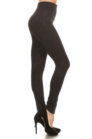 Damask Embossed Fleece Lined Leggings