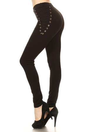 Lace Up Solid Knit Leggings