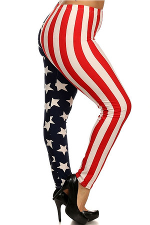 Split American Flag Leggings - Plus Size