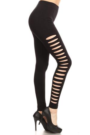 Side Slashed Black Leggings