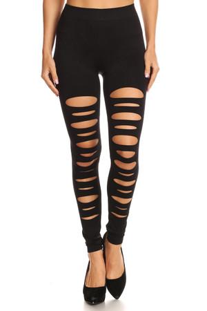 Front Slashed Black Leggings Front