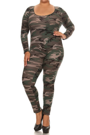Front image of our plus size Camouflage Full Jumpsuit with its all over authentic camo print, full body coverage and made in the USA