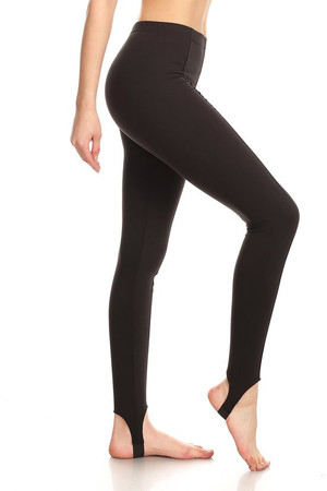 Side image of Wholesale Premium Brushed Black Sport Stirrup Leggings