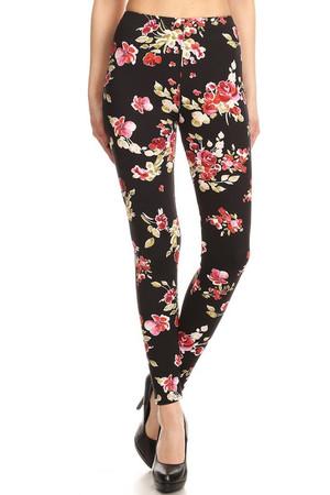 Wholesale Premium Brushed Sylvan Rose Leggings