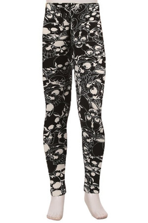Wholesale Buttery Soft Black Layers of Skulls Kids Leggings