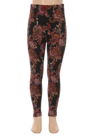 Wholesale Buttery Soft Cranberry Paisley Kids Leggings