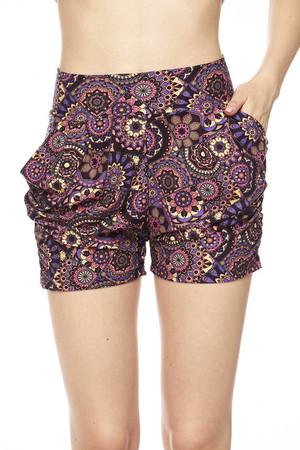 Delicious Purple Mandala Harem Shorts