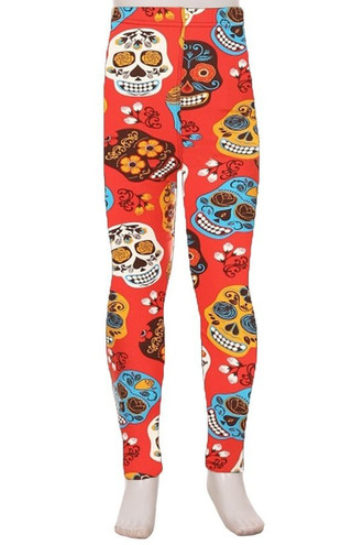 Brushed Red Sugar Skull Kids Leggings