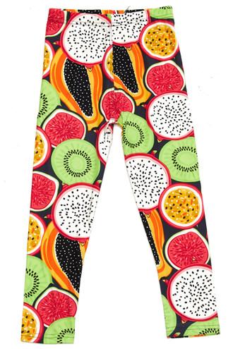 Brushed Colorful Tropical Fruit Kids Leggings