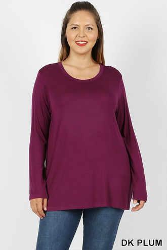Premium Round Neck Long Sleeve Rayon Plus Size Top