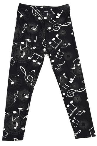 Brushed Musical Note Geometry Kids Leggings