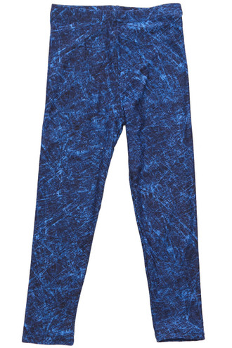 Brushed Distressed Blue Kids Leggings