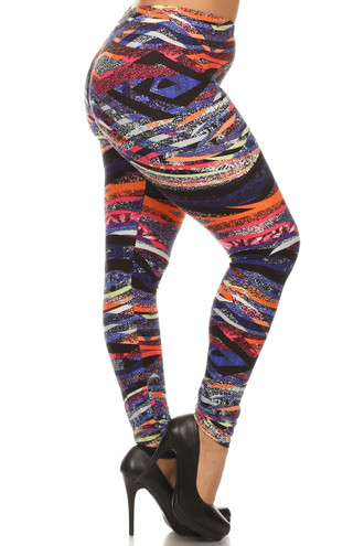 Right side leg image of Brushed Colorful Bands Plus Size Leggings