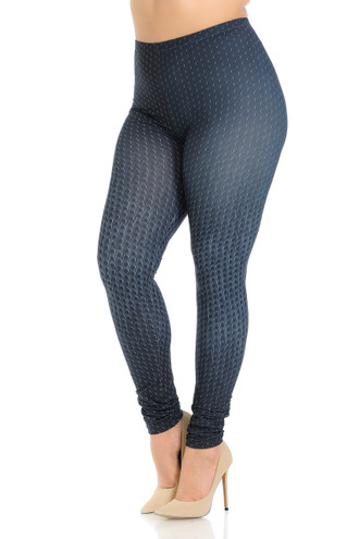 Creamy Soft Textured Dots Plus Size Leggings - Signature Collection