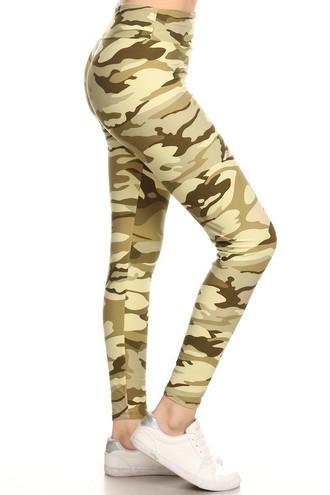 Brushed Light Olive Camouflage High Waisted Leggings