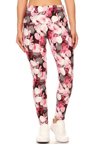Brushed Lavish Raspberry Rose High Waist Leggings