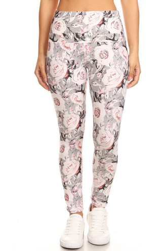 Brushed Dusky Charcoal Floral High Waist Leggings