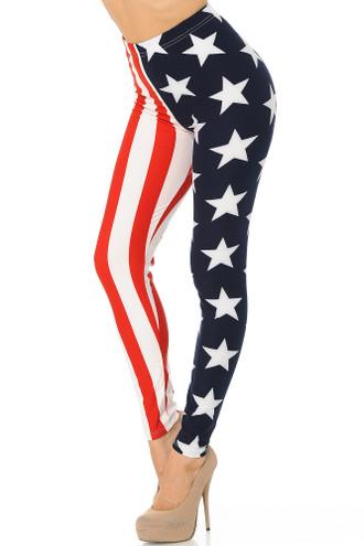 Brushed USA Split Flag Plus Size Leggings