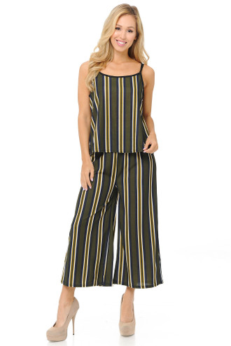 Olive Stripes Summer Palazzo Capri and Spaghetti Tank Top Set
