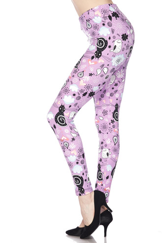 Soft Brushed Lavender Kitty Cats Leggings