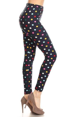 Soft Brushed Colorful Polka Dot Leggings